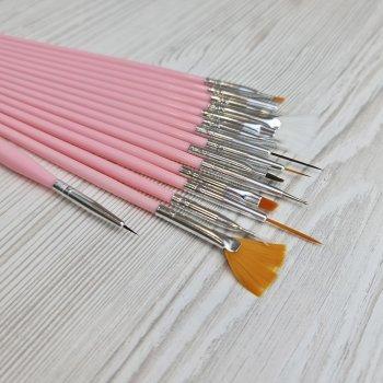 Набор кистей для рисования и дизайна ногтей Sweet Nails 15шт розовые