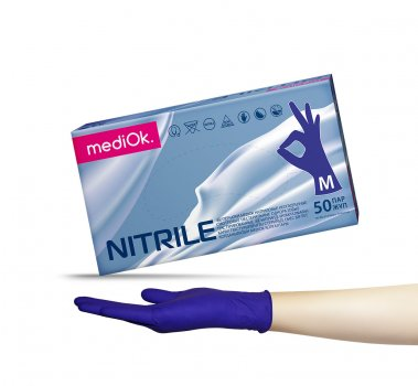 Перчатки нитриловые Mediok фиолетовые Размер M (100шт)
