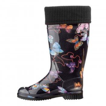 Резиновая обувь женские Casual Кеж-А 201 Бабочки черные укороченный-182