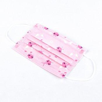 Детские медицинские маски Волес трехслойные розовые с рисунком 50 шт (500570)