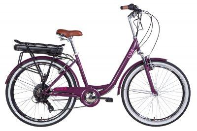 """Электровелосипед 26"""" LUX AM 17"""" 350Вт 36В редуктор. 12.5Ач с крепл. к багажн., сливовый (м) 2020"""