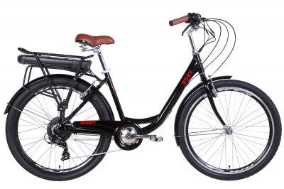 """Электровелосипед Dorozhnik RUBY 17"""" 350Вт 36В редуктор. 12.5Ач с крепл. к багажн., дисплей, САП черный 2020"""