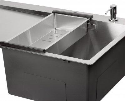 Кухонна мийка QTAP DK6845R 3.0/1.2 мм Satin із сушаркою і дозатором