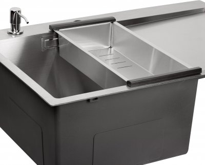 Кухонная мойка QTAP DK6845L 3.0/1.2 мм Satin с сушилкой и дозатором