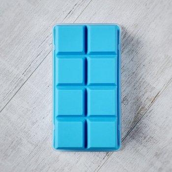 Силиконовая форма для льда куб 5 х 5 см Olin & Olin 8 кубиков голубая с крышкой