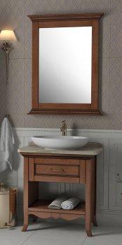 Тумба Ваші Меблі Декор 70 см с умывальником, мраморной столешницей и зеркалом Коричневая