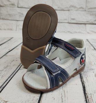 Детские босоножки сандалии для мальчика белые кожа Jong Golf