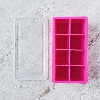 Форма для льда большой куб 5 см Olin & Olin малиновая с крышкой