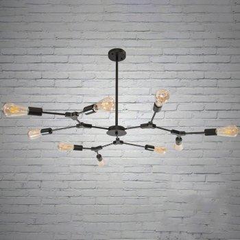 """Черная люстра """"молекула"""" стиле лофт на 9 ламп без плафонов 115*75 см. СветМира Loft D-92971/9G"""