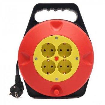 Мережевий подовжувач PowerPlant на котушці 10 м, 4 розетки (JY-2002/10) (PPRA10M100S4)