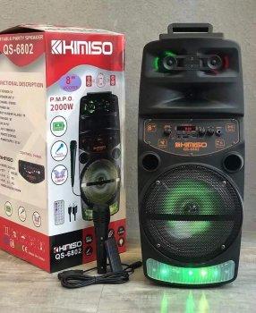 """Колонка портативная с Проводным микрофоном KIMISO QS-6802 (8""""BASS) Bluetooth / Колонка ручная для музыки"""