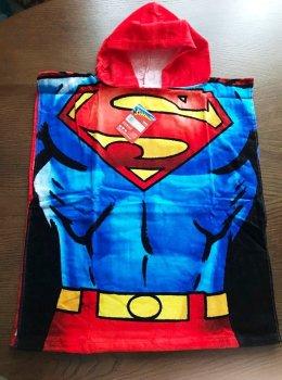 Пляжний рушник пончо Carbotex Супермен 50х115 см з каптуром для хлопчика 2-6 років