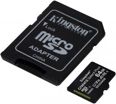 Kingston microSDXC 64GB Canvas Select Plus Class 10 UHS-I U1 V10 A1 + SD-адаптер (SDCS2/64GB)
