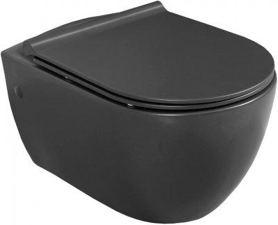 Унітаз підвісний CERASTYLE City 019100 безобідковий чорний матовий + сидіння Bella Soft Close 9SC1061S01