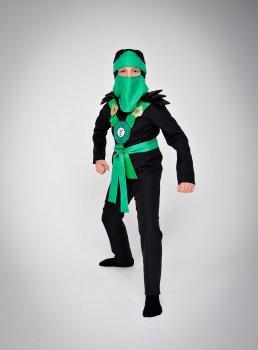 Костюм карнавальный DM SASHKA Ниндзяго зеленый 110-116 черно-зеленый
