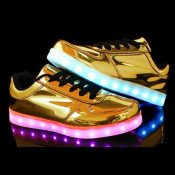 Світні кросівки UNi з LED-підошвою дитячий кросівок на шнурівці для дівчаток gold (HL)