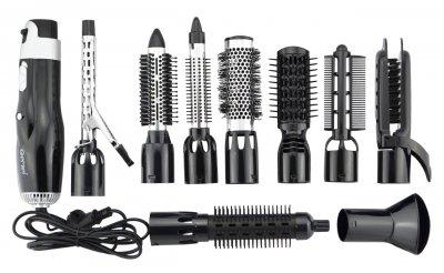 Воздушный мульти стайлер для укладки волос фен Gemei GM 4833S 10 в 1 (Концентратор, Щипцы для волос, Плойка, Утюжок) Черный