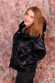 Шуба BG-Furs кулиска из нутрии с капюшоном Черная