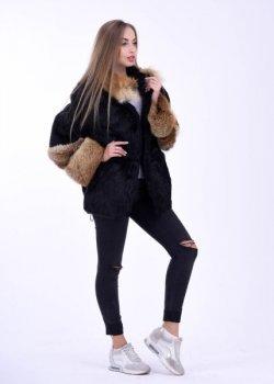 Полушубок BG-Furs демисезонный из натурального меха лисы и нутрии Черный