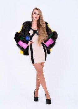 Полушубок BG-Furs демисезонный из смешаного меха Разноцветный