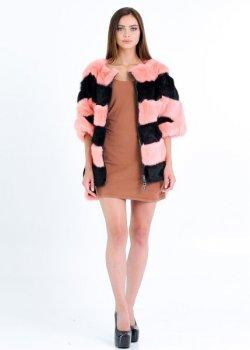 Полушубок BG-Furs меховой свитер - бомбер из кролика Персиковый