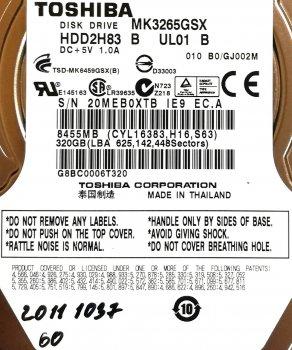 "Жорсткий диск для ноутбука Toshiba 320GB 2.5"" 8MB 5400rpm (MK3265GSX) SATAII 3Gb/s Б/У"