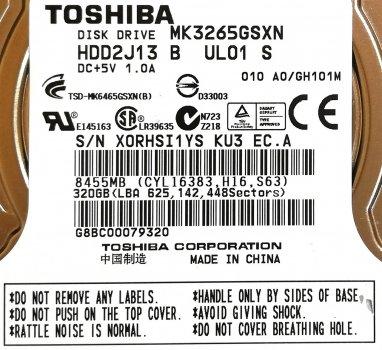 """Жорсткий диск для ноутбука Toshiba 320GB 2.5"""" 8MB 5400rpm (MK3265GSXN) SATAII 3Gb/s Б/У"""