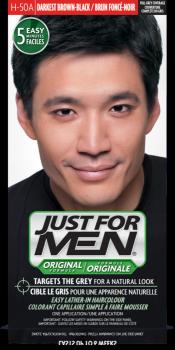 Краска для волос мужчин JUST FOR MEN (H50 A) - Насыщенный Тёмный коричневый / Черный 66 мл.