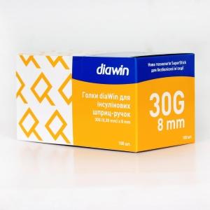 Иглы инсулиновые для шприц ручек Диавин 8 мм (DiaWin 8 mm 30G)