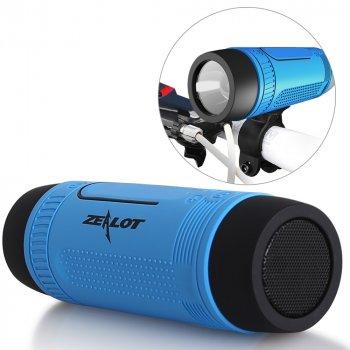 Бездротова Bluetooth колонка ZEALOT S1 з функціями MP3 плеєра і ліхтариком. Синя ZEALOT (670865606)