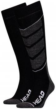 Набор горнолыжных носков HEAD Unisex Ski V-Shape Kneehigh 2P 791004001-213 Серо-черные (мужские)