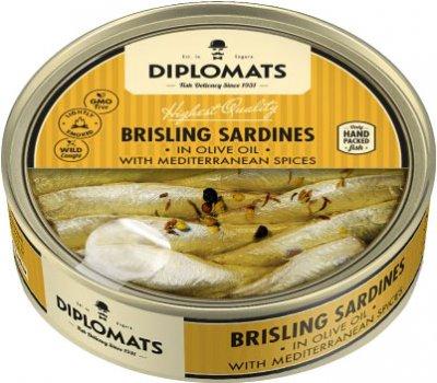 Сардины Diplomats подкопченные в оливковом масле с средиземноморскими специями 160 г (4750010000205)