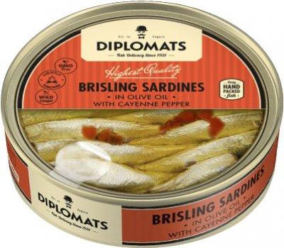 Сардины Diplomats подкопченные в оливковом масле с кайенским перцем 160 г (4750010000212)