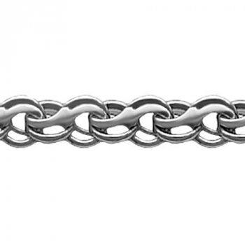 Серебряный мужской браслет ручеёк (Кайзерка) 4мм белый
