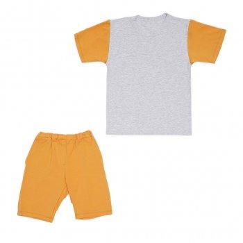 Костюм Sofushka (футболка+шорти) 0052 сірий з гірчичним 164