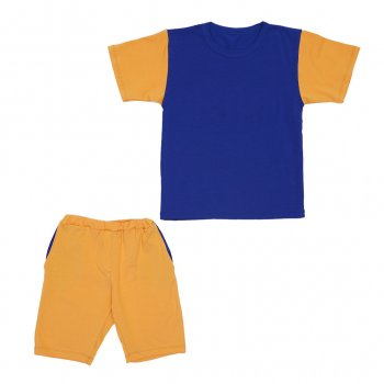 Костюм Sofushka (футболка+шорти) гірчичнийз синім 158