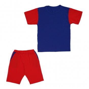 Костюм Sofushka (футболка+шорти) червоний з синім 134