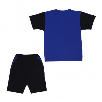 Костюм Sofushka (футболка+шорти) чорний з синім 158