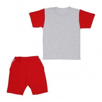 Костюм Sofushka (футболка+шорти) сірий з червоним 152