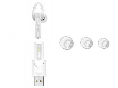 Bluetooth Гарнитура Baseus С магнитной базой для зарядки USB Белый (1006-271-01)