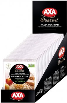 Упаковка вівсяних каш AXA Яблуко-груша зі смаком струдля 40 г х 20 шт. (4820008128553)