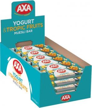 Упаковка зернових батончиків AXA зі смаком йогурту та тропічними фруктами 25 г х 24 шт. (4820008129437)