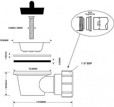 Водослив для раковины McALPINE угловой 90 градусов 1 1/4x50 без перелива (5036484082923)