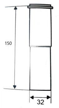 Удлинитель латунный McALPINE 32х32х150 мм хром (5906485649954)