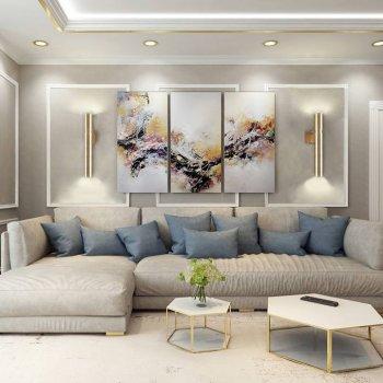 Бра для вітальні, спальні, офісу, кухні, передпокої, кафе Tube 3423 латунь золотистий PikArt