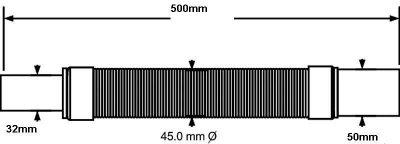 Патрубок пластиковый McALPINE 32х50/500 мм универсальный гибкий (5036484016027)
