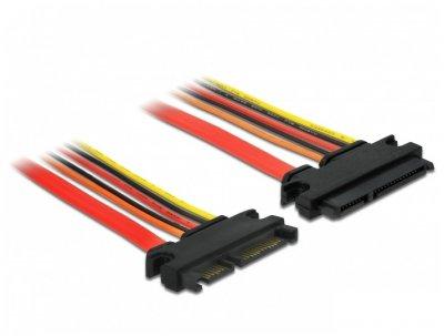 Кабель накопичувача-подовж. Delock SATA 22p M/F 0.5m Data+Power 6Gbps AWG18+26 різнобарвний(70.08.4920)