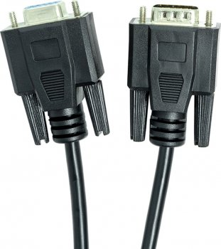 Відеокабель PowerPlant VGA (M) — VGA (F) 1 м Чорний (CA911967)