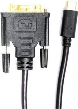 Кабель PowerPlant USB Type-C 3.1 — DVI (24 + 1) (M) 1 м Чорний (CA912124)