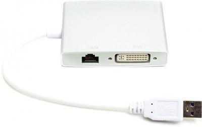 Перехідник PowerPlant USB 3.0 — HDMI, DVI, VGA, RJ45 Gigabit Ethernet Білий (CA912087)